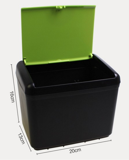 車内用 ワンプッシュ式蓋付きゴミ箱 収納箱ーーサイズ