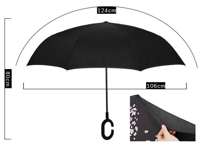逆さ傘 二重傘 晴雨兼用 さかさま傘ーーサイズ